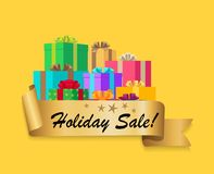 Five Star Holiday Sale Gold Ribbon Gift Boxes Stock Image