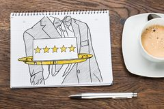 Five Star Hospitality Service Concept. In Notepad stock image