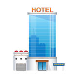 Five-star hotel building 3d icon. Glass skyscraper icon Royalty Free Stock Images
