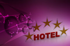 Five star hotel concept. In color background Royalty Free Stock Photo