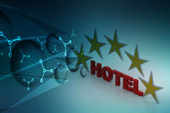 Five star hotel concept. In color background Royalty Free Stock Photos