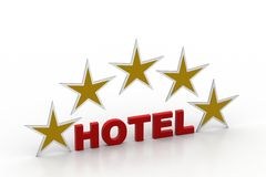 Five star hotel concept. In white background Stock Photos