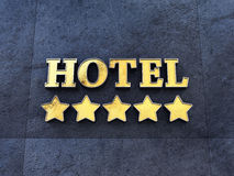 Five star Hotel. Golden 5 star Hotel sign on a wall , Luxury Hotel Royalty Free Stock Photos