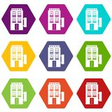 Five star hotel icon set color hexahedron Stock Photos