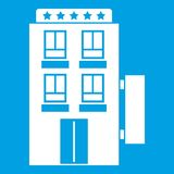 Five star hotel icon white. Isolated on blue background vector illustration stock illustration