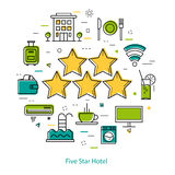 Five-star hotel - Line Concept. Vector round web banner of five star hotel. Modern thin line icons in three colors. Big 5 stars and pictographs of building Stock Photography