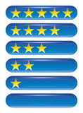 Five star rank. A set of five star rank icons Royalty Free Stock Photography