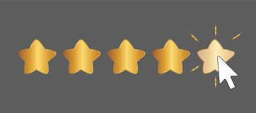 Five Star Rating Click. With Mouse Cursor royalty free illustration