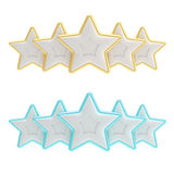 Five star rating composition isolated on white. Five star rating composition made of silver dolg and blue stars isolated on white Vector Illustration