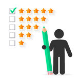Five star rating concept. Check mark with green pencil on five star rating royalty free illustration