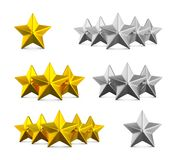 Five star rating. Different rows of one, three and five stars. Gold embossed and silver stars on white. 3d rendering vector illustration