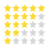 Five-star rating. Gold and gray stars painted with a rough brush. Royalty Free Stock Photos