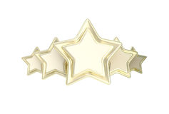 Five star rating golden emblem. Isolated on white Stock Illustration