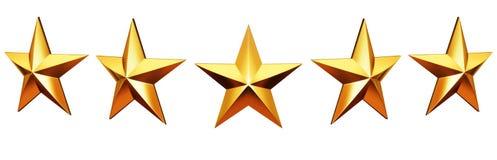 Five star rating. Golden stars. Five star rating - golden stars 3d render royalty free stock image