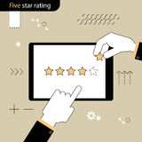 Five Star rating . Hand pointing a finger at the rating stars. H. And adds a fifth star in the rating . Linear flat design Royalty Free Stock Photos
