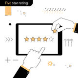 Five Star rating . Hand pointing a finger at the rating stars. H. And adds a fifth star in the rating . Linear flat design on a white background Royalty Free Stock Image