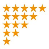 Five star rating icon isolated on white background. Different ranks from one to five stars. Golden s vector illustration