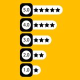 Five star rating for web or app. Buttons for sites Stock Photography