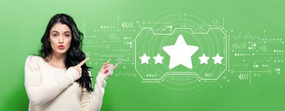 Five star rating with young woman royalty free stock image