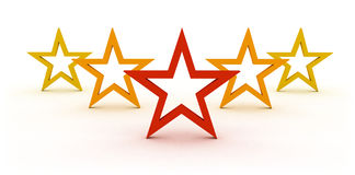 Five stars. Star rating with five stars representing symbol and concept of competition success and best quality Stock Photography