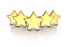Five stars. 3d illustration of golden five stars on a white background Vector Illustration