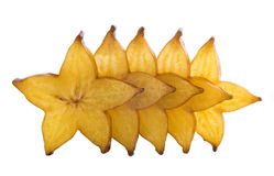 Five stars of carambola. Sliced on white background Royalty Free Stock Photos