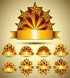Five stars classic style blank golden banners set, vector collec Stock Photos
