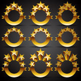 Five stars classic style labels. Royalty Free Stock Photos