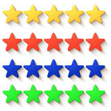 Five stars colored with drop shadow Stock Photos