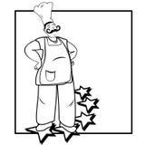 Five stars cook. Confident happy five stars cook illustration Stock Image