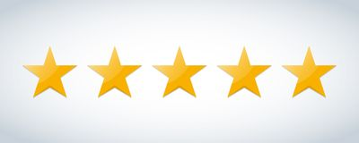Five stars customer product rating review flat icon for apps and websites Royalty Free Stock Image