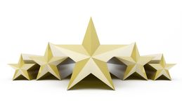 Five stars customer product rating review on white, 3d vector illustration