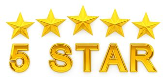 Five Stars - 3d rendering Royalty Free Stock Image