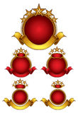Five stars emblems set. Circle emblems with ribbons, golden stars and places for company name. Classic style stock illustration