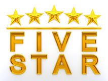 Five Stars. Gold Five Stars - 3d rendering Royalty Free Stock Photo