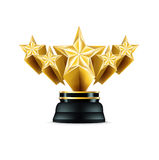 Five stars golden trophy isolated on white Stock Photo