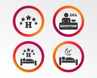 Five stars hotel icons. Travel rest place. Five stars hotel icons. Travel rest place symbols. Human sleep in bed sign. Hotel 24 hours registration or reception Stock Photo
