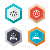 Five stars hotel icons. Travel rest place Royalty Free Stock Photos