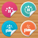 Five stars hotel icons. Travel rest place. Royalty Free Stock Photos