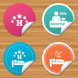 Five stars hotel icons. Travel rest place. Round stickers or website banners. Five stars hotel icons. Travel rest place symbols. Human sleep in bed sign. Hotel Stock Photography