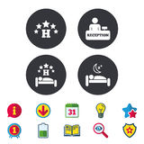 Five stars hotel icons. Travel rest place. Royalty Free Stock Photo