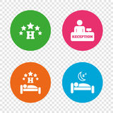 Five stars hotel icons. Travel rest place. Royalty Free Stock Image