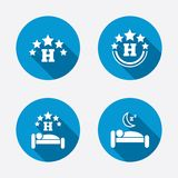 Five stars hotel icons. Travel rest place Royalty Free Stock Image