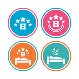Five stars hotel icons. Travel rest place. Stock Image