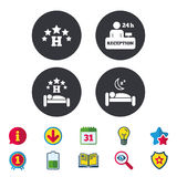 Five stars hotel icons. Travel rest place. Five stars hotel icons. Travel rest place symbols. Human sleep in bed sign. Hotel 24 hours registration or reception Royalty Free Stock Photos