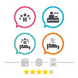 Five stars hotel icons. Travel rest place. Five stars hotel icons. Travel rest place symbols. Human sleep in bed sign. Hotel 24 hours registration or reception Royalty Free Stock Image