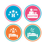 Five stars hotel icons. Travel rest place. Five stars hotel icons. Travel rest place symbols. Human sleep in bed sign. Hotel 24 hours registration or reception Royalty Free Stock Images