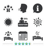 Five stars hotel icons. Travel rest place. Five stars hotel icons. Travel rest place symbols. Human sleep in bed sign. Hotel 24 hours registration or reception Stock Photos