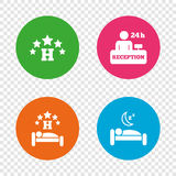 Five stars hotel icons. Travel rest place. Five stars hotel icons. Travel rest place symbols. Human sleep in bed sign. Hotel 24 hours registration or reception Royalty Free Stock Photography