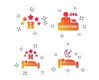Five stars hotel icons. Travel rest place. Vector. Five stars hotel icons. Travel rest place symbols. Human sleep in bed sign. Hotel 24 hours registration or stock illustration